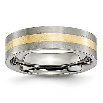 チタン ブラシ フラット バンド彫刻用の 14 k ゴールドのインレイ 6 mm サテン バンド リング - 指輪のサイズ: 6 に 13