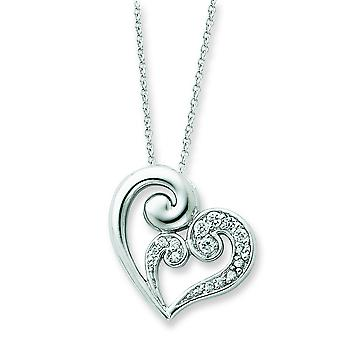 Sterling Silver Cubic Zirconia Heart Necklace - 18 Inch