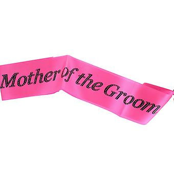 "Hen Night ""Mother Of The Groom"" Hot Pink Sash Black Writing Hen Party Accessory"