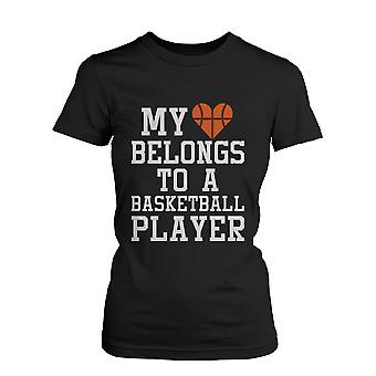 Women's Funny Statement Black T-Shirt - My Heart Belong to A Basketball Player  Funny Shirt