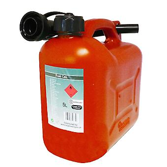 Red Petrol Fuel Canister Plastic Lawn Mower Jerry Can 5 Litre Flexible Spout