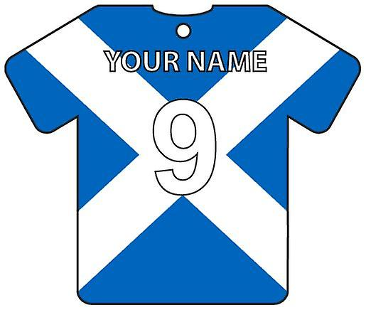 Personalised Scotland Flag Jersey Car Air Freshener