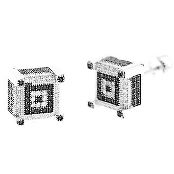 925 Silver MICRO PAVE earrings - CUBIC 10 mm black