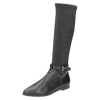 Ladies Spot On Knee High Boots F4367