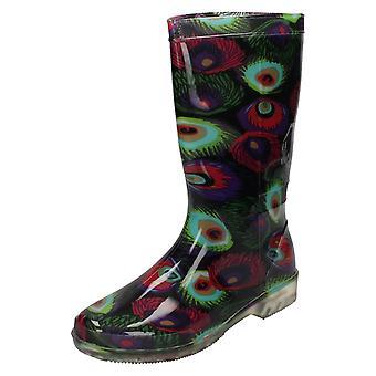 Kære plet på kalv høj Peacock Print gummistøvler