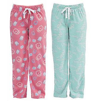2 pack Womens slaperig afdrukken Fleece Winter Pyjama broek bodems Lounge Wear