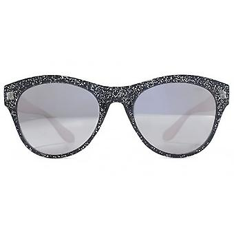 Miss KG Plastic Round Sunglasses In Black Glitter