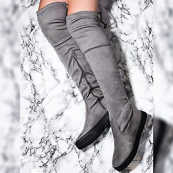 Spylovebuy KAROO Lace Up Skater Sole Flat Over Knee Tall Boots - Grey Suede Style
