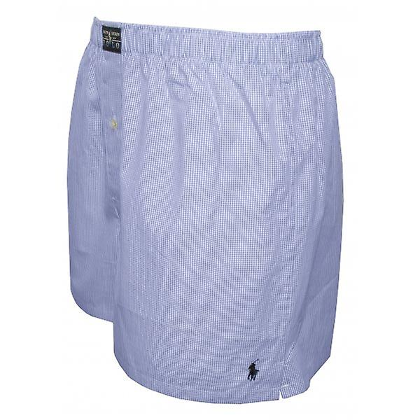 Polo Ralph Lauren Mini Gingham Woven Boxer Shorts, Light Blue