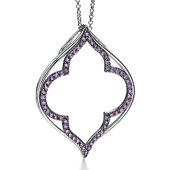925 Silver Plated Ruthenium And Zirconium Fashionable Necklace