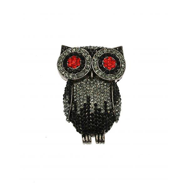 W.A.T Big Swarovski Crystal Owl Brooch