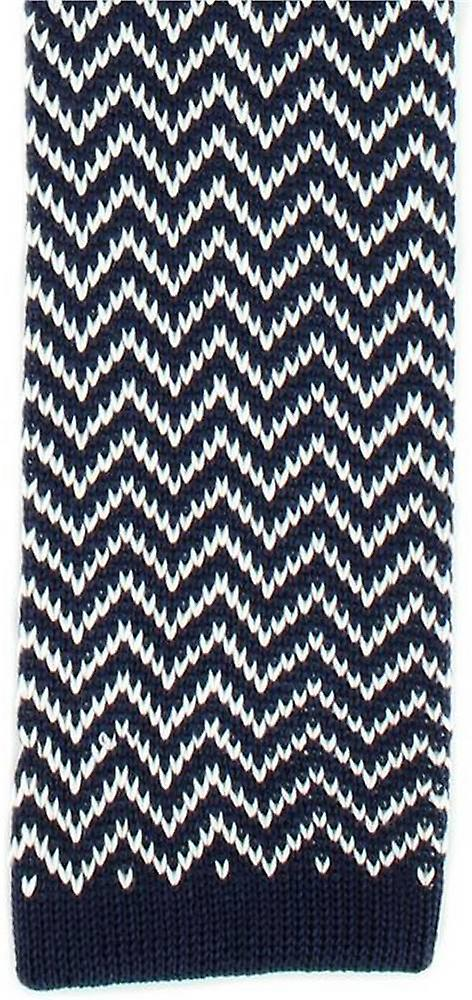 Michelsons of London Zig Zag Silk Knitted Skinny Tie - Navy/White