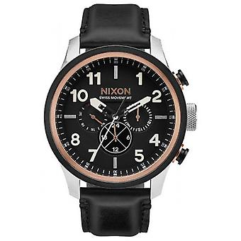 Nixon het Leer Safari Dual Time Watch - zwarte/Rose Gold