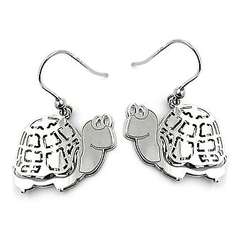 Earrings ear hook shiny silver TURTLE girl earrings 925 sterling silver