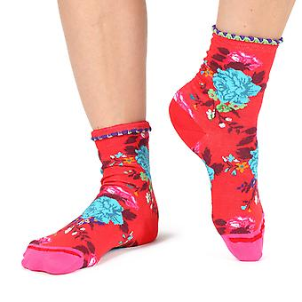 Prosperity women's crazy floral crew socks in red | By Fil de Jour