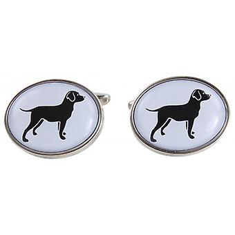Zennor Labrador Illustration Cufflinks - White/Silver