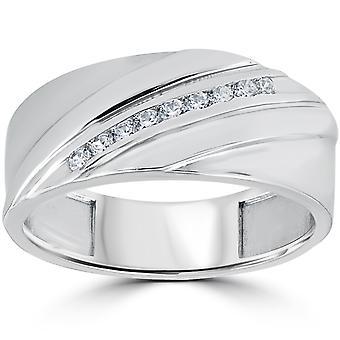 1/6CT Mens Diamond Ring 10K White Gold