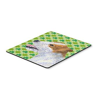 Jack Russell Terrier St. Patrick's Day Shamrock Mouse Pad, Hot Pad or Trivet