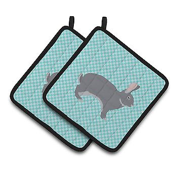 Giant Chinchilla Rabbit Blue Check Pair of Pot Holders