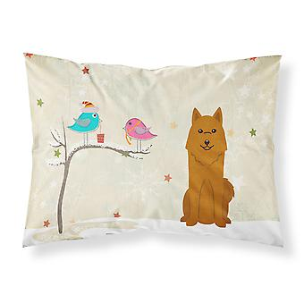 Christmas Presents between Friends Karelian Bear Dog Fabric Standard Pillowcase