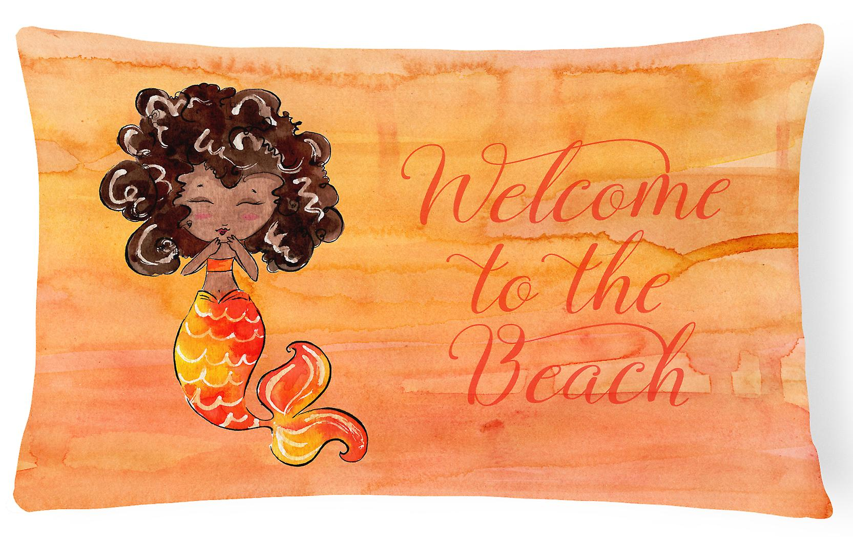 Welcome Fabric Canvas Orange Decorative Pillow Mermaid lKTFJc31