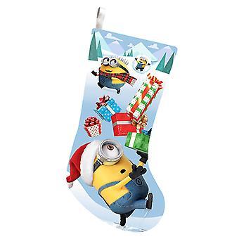 Foragtelige mig håndlangere med gaver trykt Satin juleferien strømpe