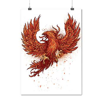 Matte or Glossy Poster with Mythical Fire Bird | Wellcoda | *d1262