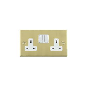 Hamilton Litestat Hartland Polished Brass 2g 13A DP Switched Socket WH/WH