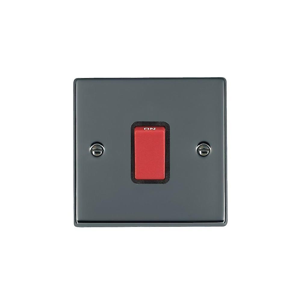 Hamilton Litestat Hartland noir Nickel 1g 45A Double Pole rouge Rocker BL