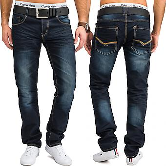 Men's regular fit jeans pants REMO straight cut denim oversize of jeans pants Blau W34 - W44