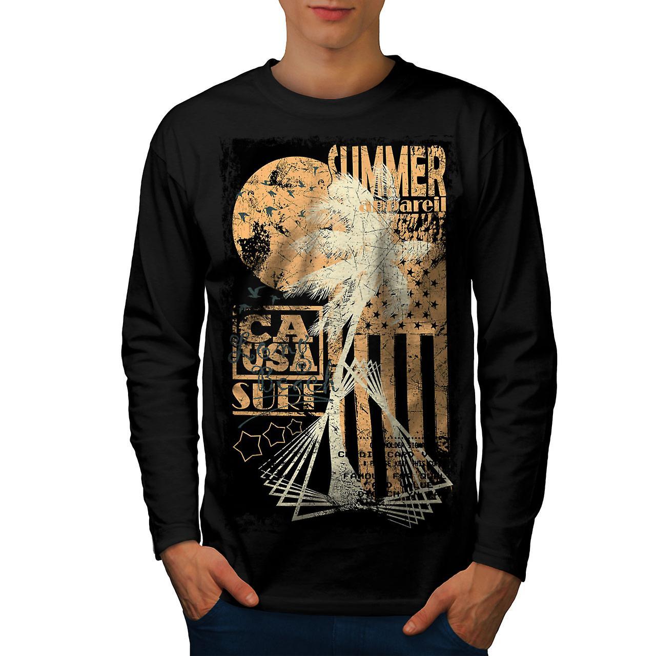 Summer USA Flag Men BlackLong Sleeve T-shirt | Wellcoda