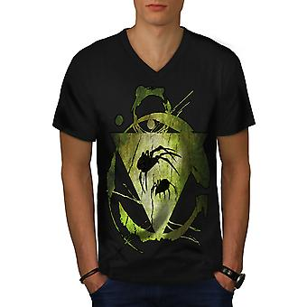 Animal Spider Triangle Men BlackV-Neck T-shirt | Wellcoda