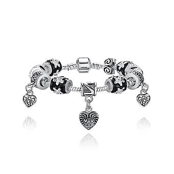 Silver Plated Snake Bracelet With Charms Pa1432