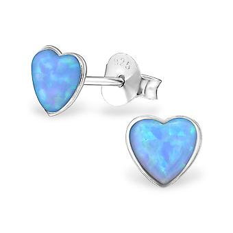Heart - 925 Sterling Silver Opal And Semi Precious Ear Studs - W27458x