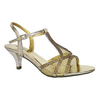 Ladies Womens New Diamante Low Heel Ankle Strap T Bar Net Sandals Shoes
