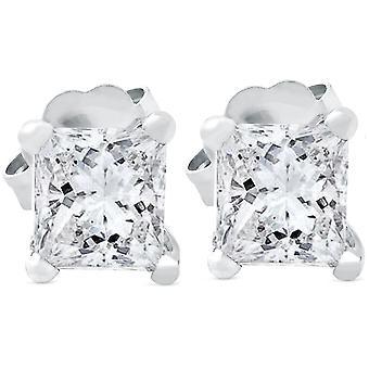 1ct Princess Cut Real Diamond Studs 14K White Gold