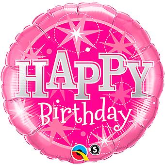 Foil balloon of happy Bithday pink birthday about 45 cm