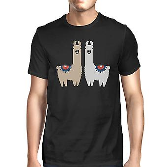 Llama Pattern Mens Black Cotton Made Tee Tee Christmas Gift