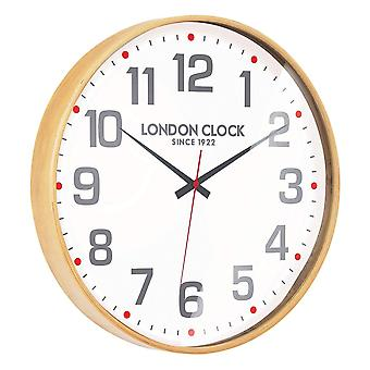 London Clock 1922 43cm Retro Collection Large Boho Natural Wood Wall Clock