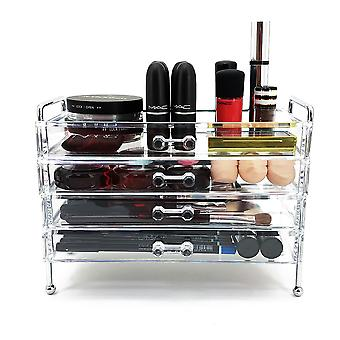 OnDisplay 4 skuff forkrommede stålramme akryl kosmetisk/Makeup Organizer