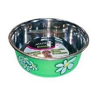 Nayeco Trough stainless green Blossom 500 ml (Dogs , Bowls, Feeders & Water Dispensers)