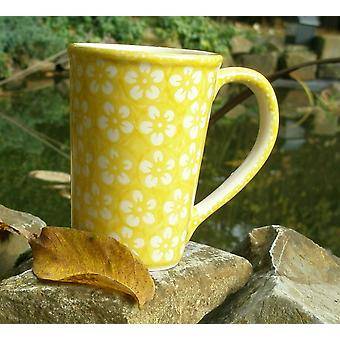 Cup approx. 250 ml - 8 cm, height 11 cm, yellow, Bolesławiec BSN J-937