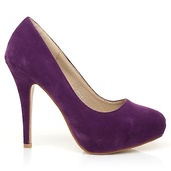 H251 Purple Faux Suede Stiletto High Heel Concealed Platform Court Shoes