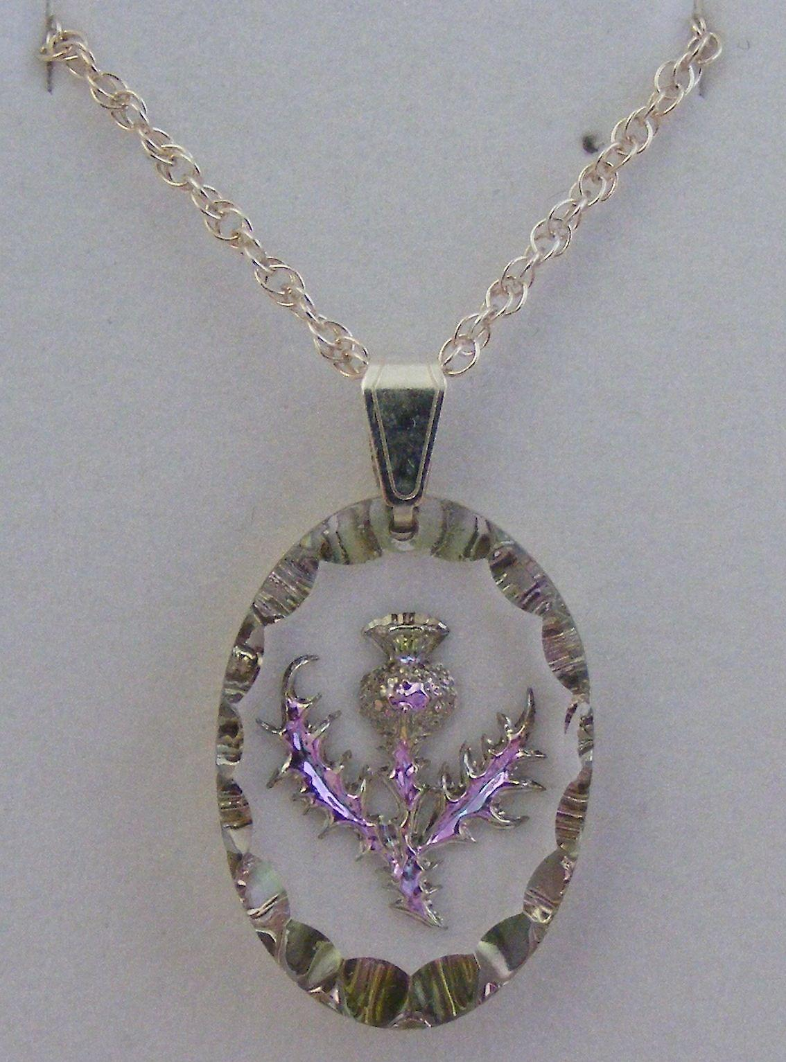 Heather Medium Oval Thistle Crystal Pendant