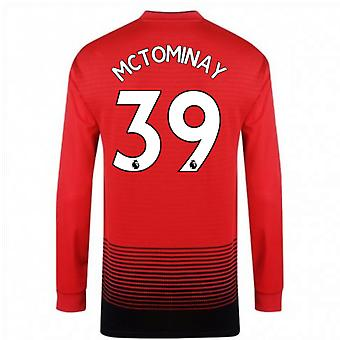 2018-2019 Man Utd Adidas Home Long Sleeve Shirt (McTominay 39)