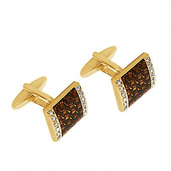 Brown - 1.8 cm Lords - cufflinks - gold plated - fire enamel-