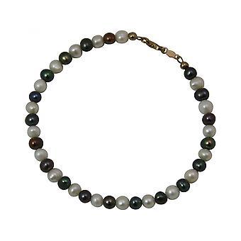 Tahiti - grey-white - gold - plated-bead women - bracelet - 19 cm