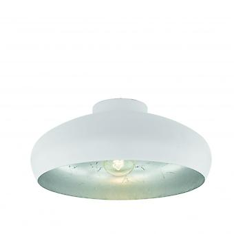 Eglo Mogano Retro White And Steel Open Bowl Ceiling Light