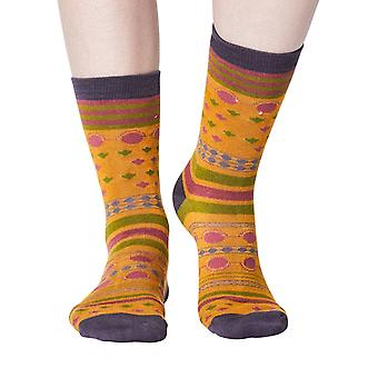 Panvy women's super-soft bamboo crew socks in mustard | By Thought