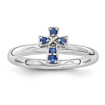 2.25mm Sterling Silver Rhodium-plated Stackable Expressions Rhodium Created Sapphire Cross Ring - Ring Size: 5 to 10